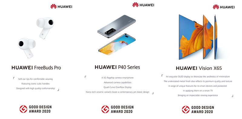 HUAWEI FreeBuds Pro, P40 Series, Vision X65 and VR Glass awarded esteemed Good Design Awards 2020